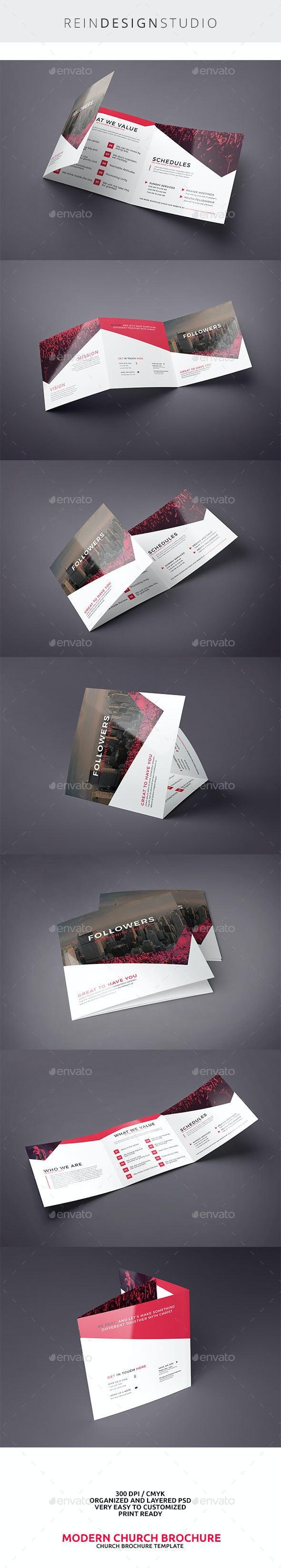 Modern Church Square Trifold - Brochures Print Templates