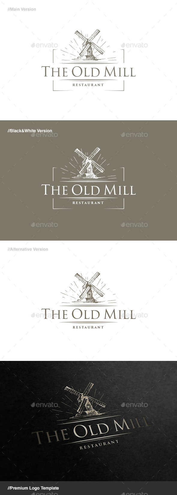 The Old Mill Logo - Buildings Logo Templates