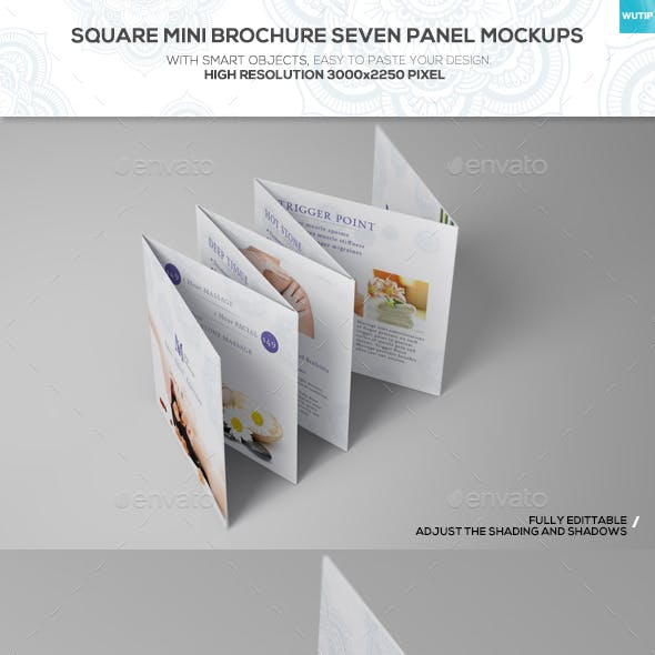 Square Mini Brochure Seven Panel Mockups