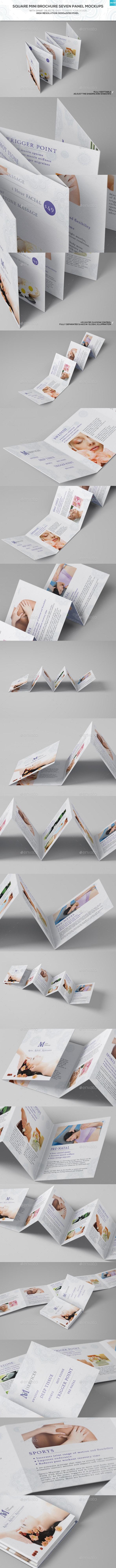 Square Mini Brochure Seven Panel Mockups - Brochures Print