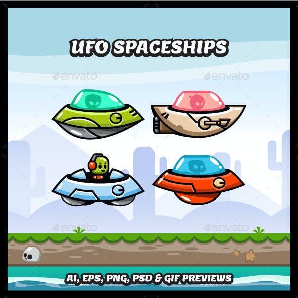 4 UFO Spaceship Game Character