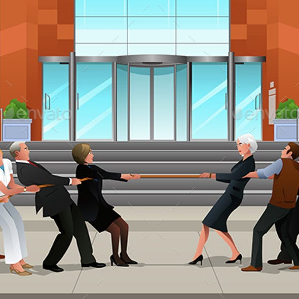 Business People in a Tug of War