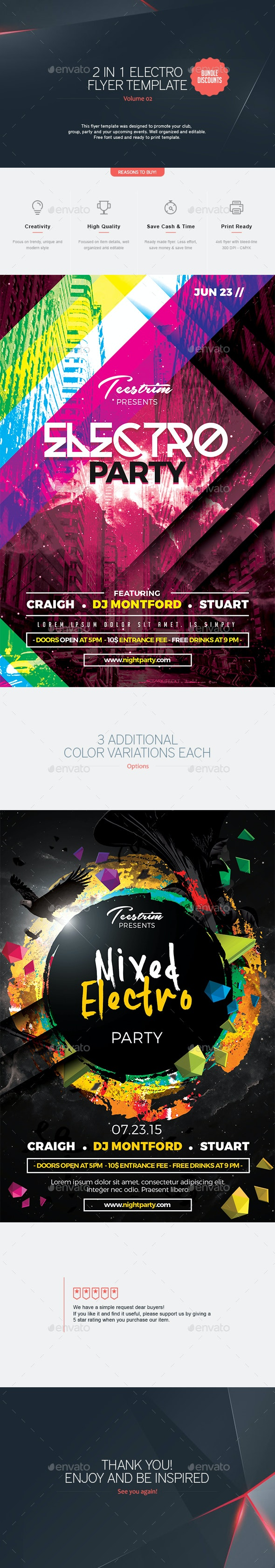 2 in 1 - Electro Flyer  V.2 - Clubs & Parties Events