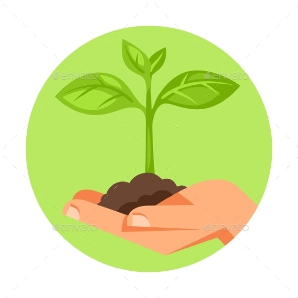Illustration of Human Hand Holding Small Plant - Flowers & Plants Nature