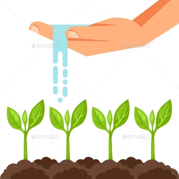 Illustration of Watering Plants from Hand - Industries Business