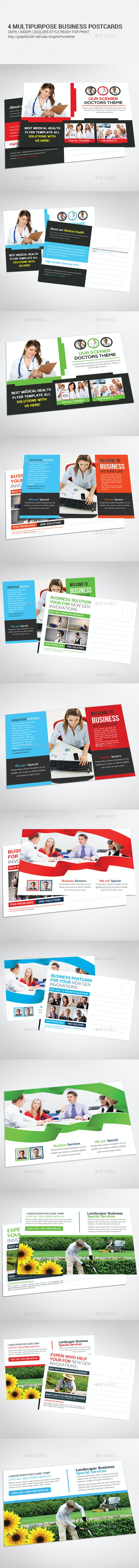 4 Multipurpose Business Postcards Templates - Cards & Invites Print Templates