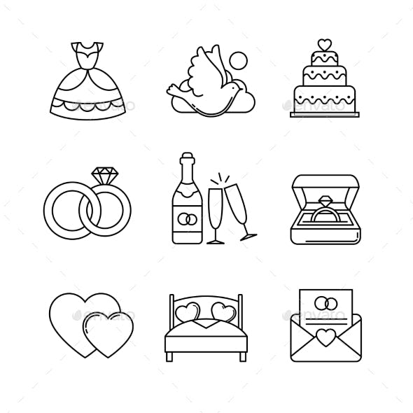Wedding and Marriage Thin Line Art Icons Set