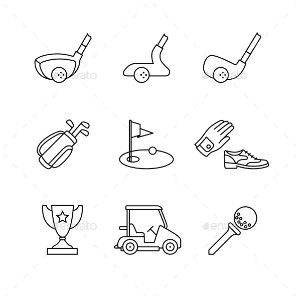 Golf Sport and Equipment Thin Line Art Icons Set - Sports/Activity Conceptual