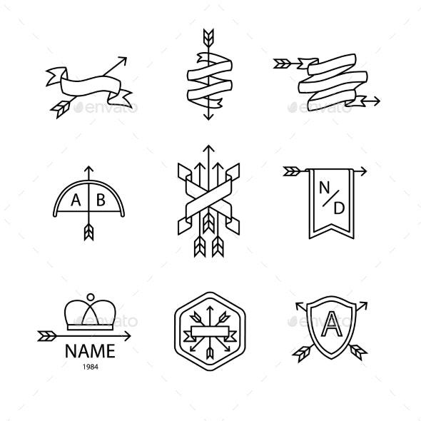 Arrow Ribbon Logo and Emblem - Abstract Conceptual