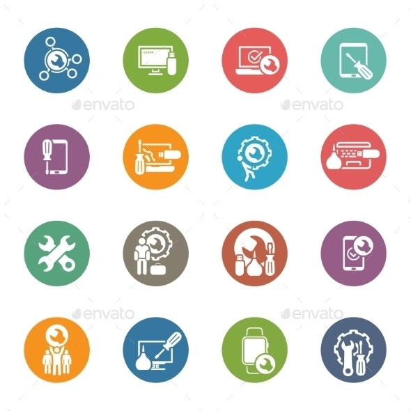 Repair Service and Maintenance Icons Set - Web Technology