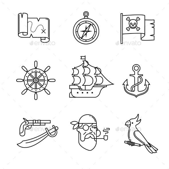 Pirate Icons Thin Line Art Set