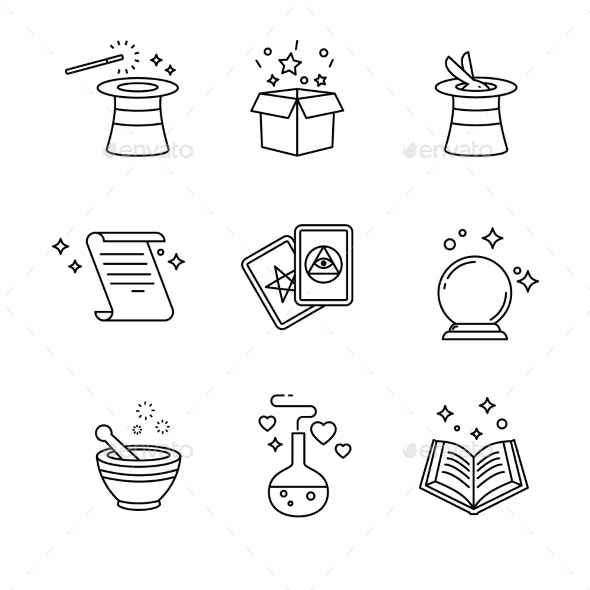 Magic and Magician Tools Thin Line Art Icons Set - Abstract Conceptual