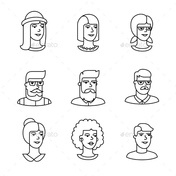 Human Faces Icons Thin Line Art Set - People Characters