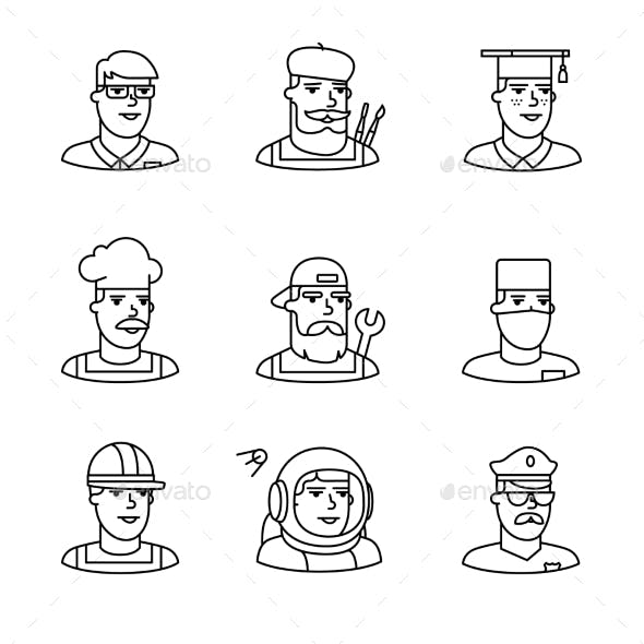 People Professions Paces Icons Thin Line Art Set