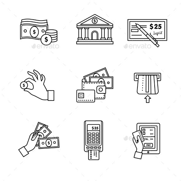 Banking Icons Thin Line Art Set