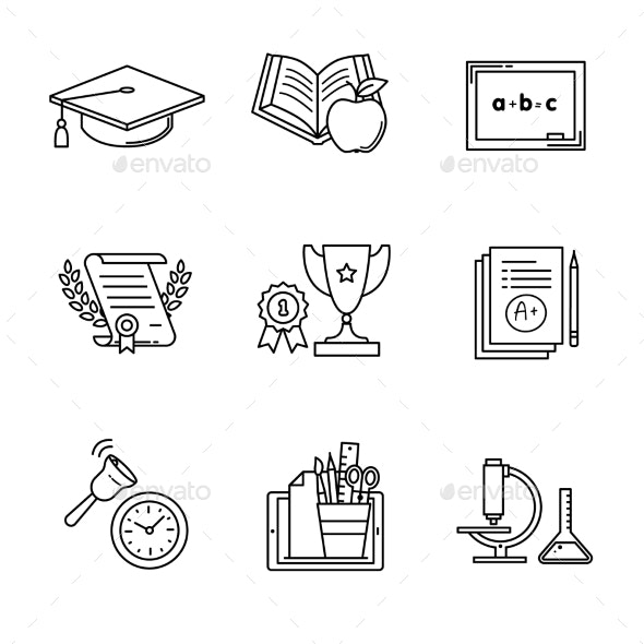 Education Icons Thin Line Art Set