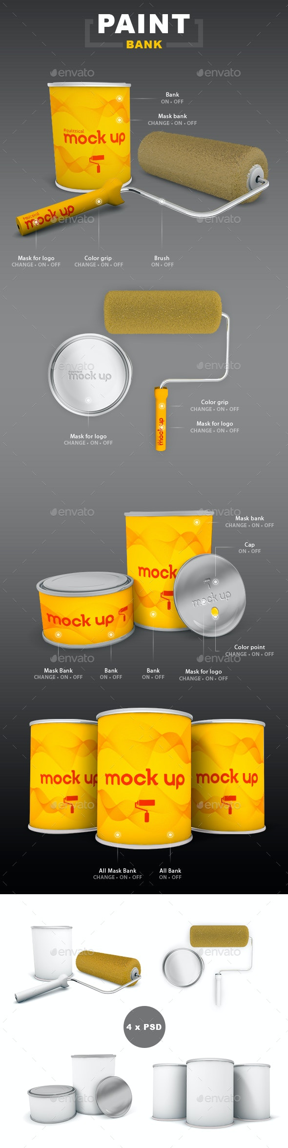 Bank and Roller Mock Up Paint - Product Mock-Ups Graphics