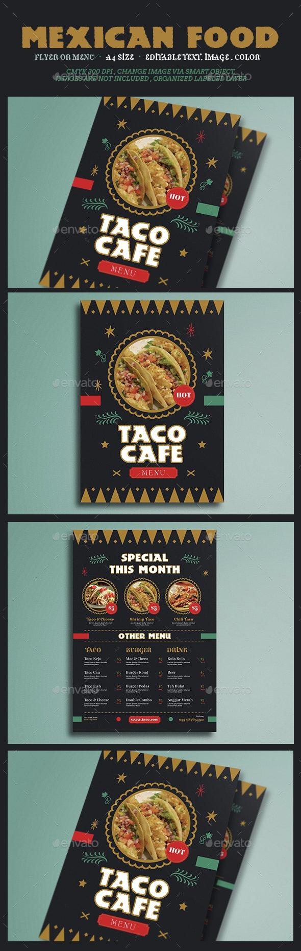 Mexican Food Flyer Menu - Food Menus Print Templates