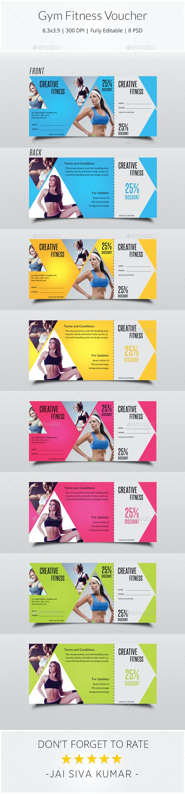 Gym Fitness Voucher - Loyalty Cards Cards & Invites