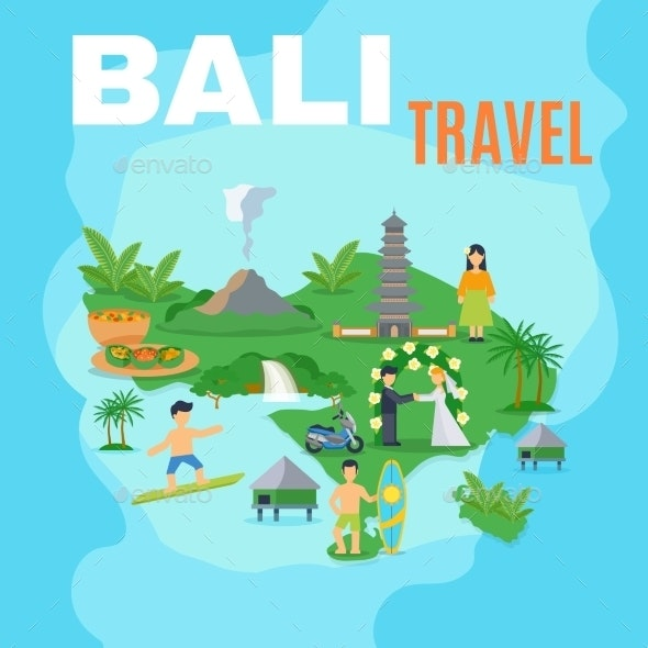 Background Map Bali Travel  - Travel Conceptual