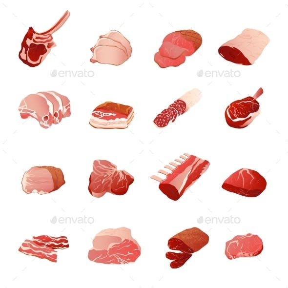 Meat Products Icons Set