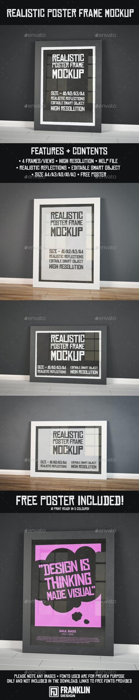 Realistic Poster Frame Mockup - Product Mock-Ups Graphics