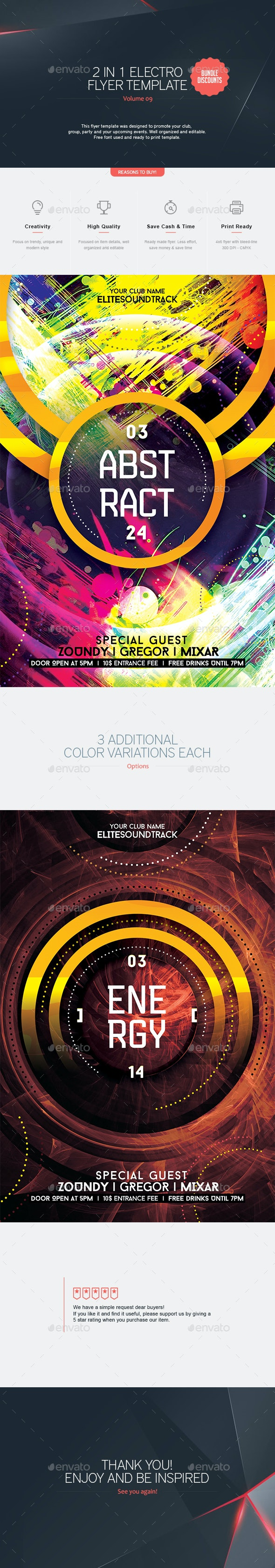 2 in 1 - Electro Flyer V.9 - Clubs & Parties Events