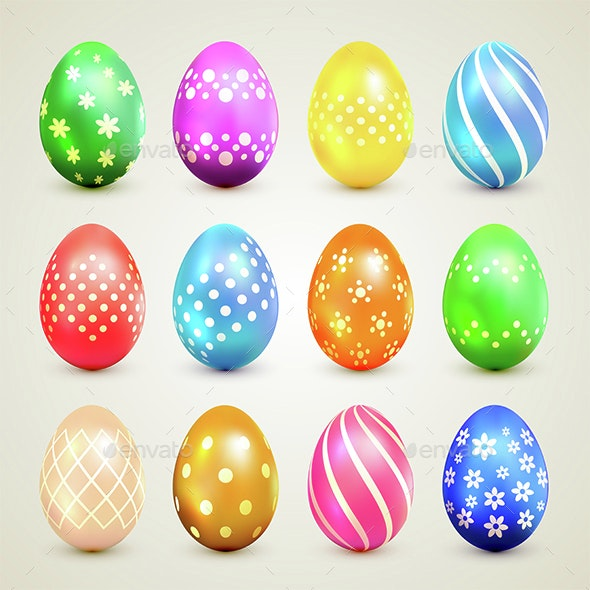 Colorful Easter Eggs with Decorative Patterns - Miscellaneous Seasons/Holidays