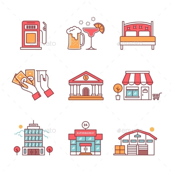 Commercial Buildings Set - Services Commercial / Shopping