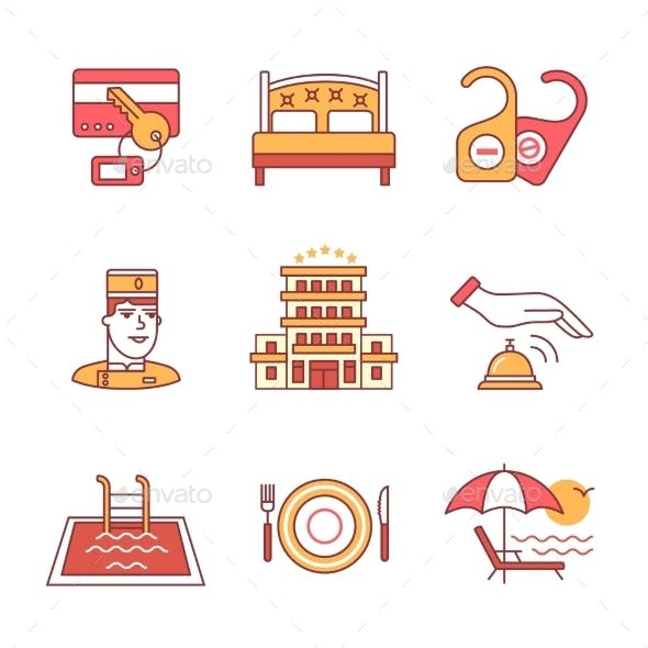 Hotel Signs Set Thin Line Art Icons