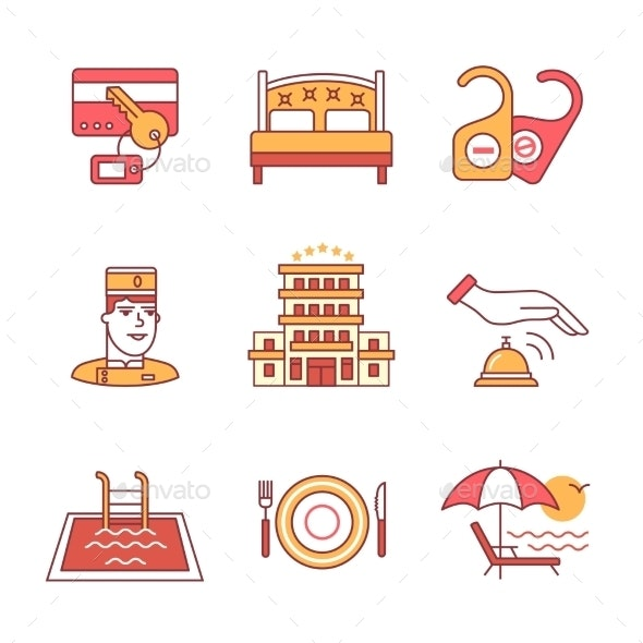 Hotel Signs Set Thin Line Art Icons - Services Commercial / Shopping