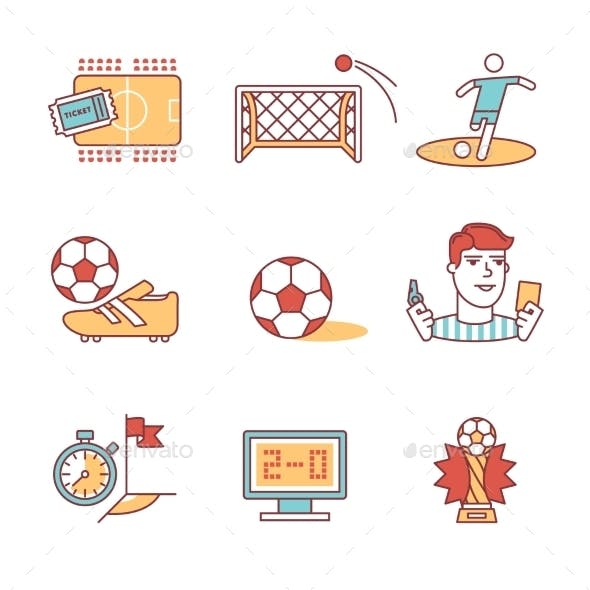 Soccer Game Signs Set Thin Line Art Icons