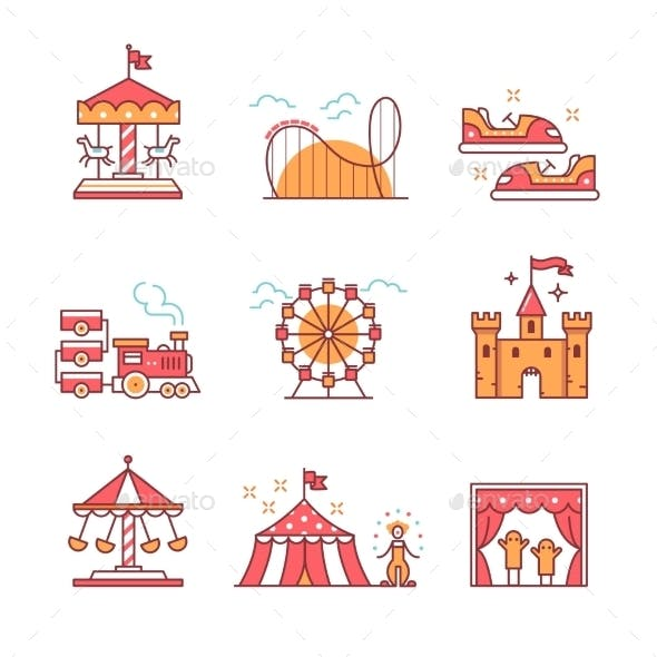 Theme Amusement Park Set