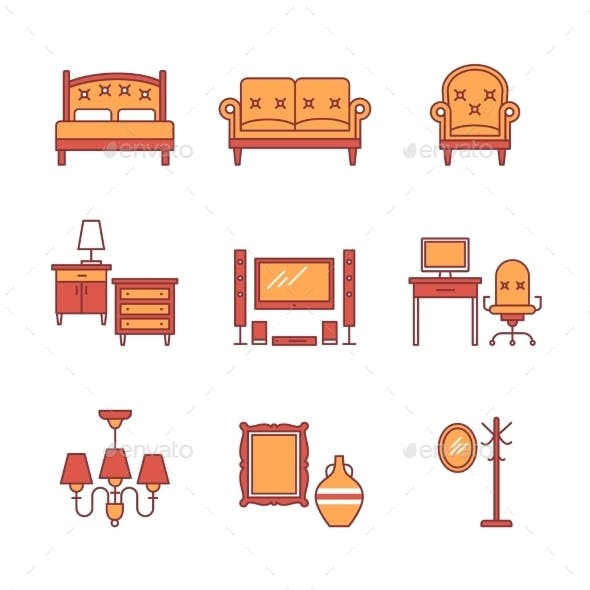 Home Furniture Signs Set Thin Line Art Icons