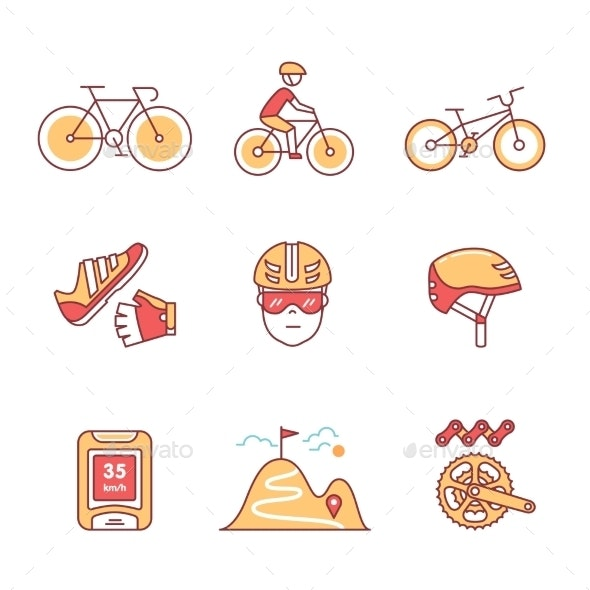 Bike Cycling and Biking Accessories Sign Set - Sports/Activity Conceptual