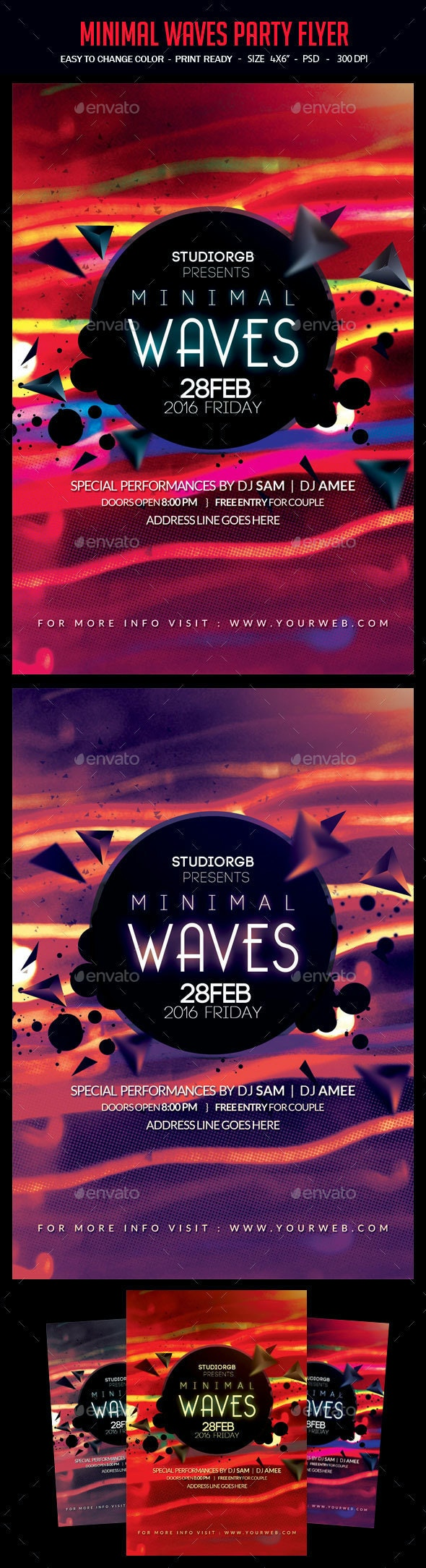 Minimal Waves Party Flyer - Clubs & Parties Events