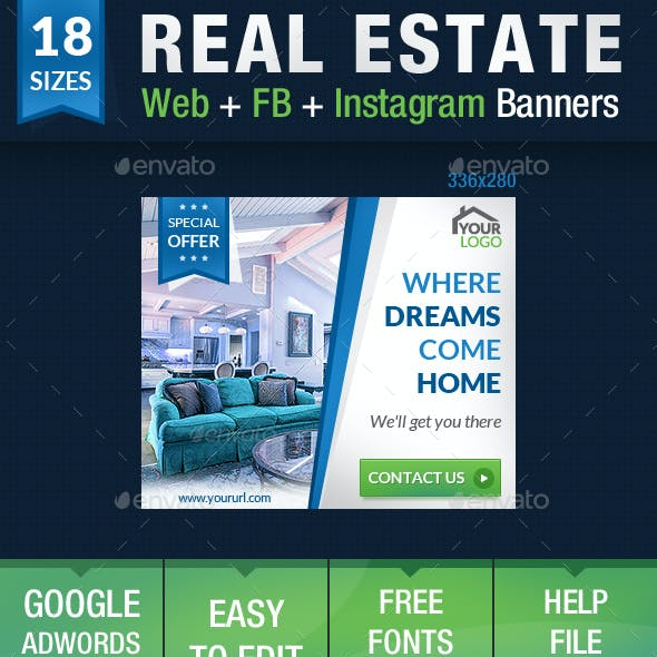 Real Estate Web + FB + Instagram Banners
