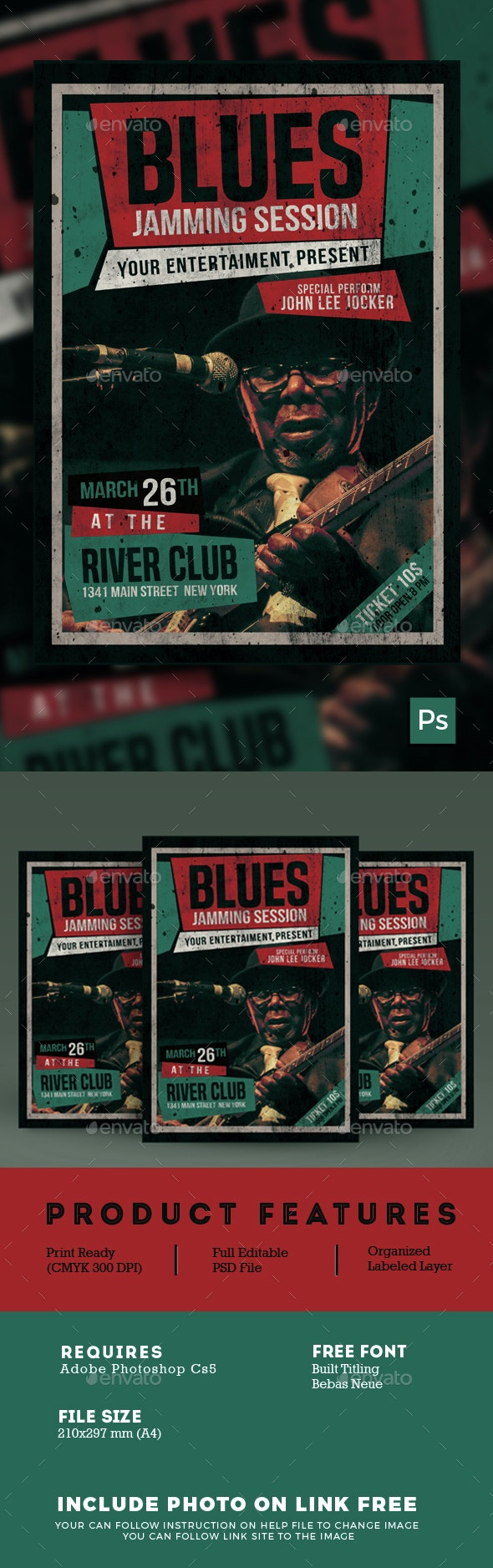 Blues Music Flyer - Events Flyers