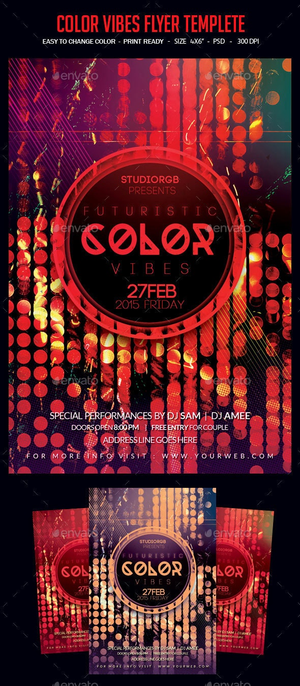 Color Vibes Flyer Templete - Clubs & Parties Events