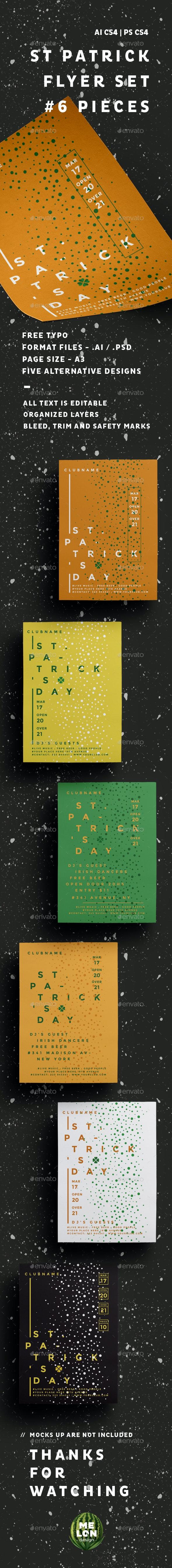 St. Patrick Set - Flyers Print Templates