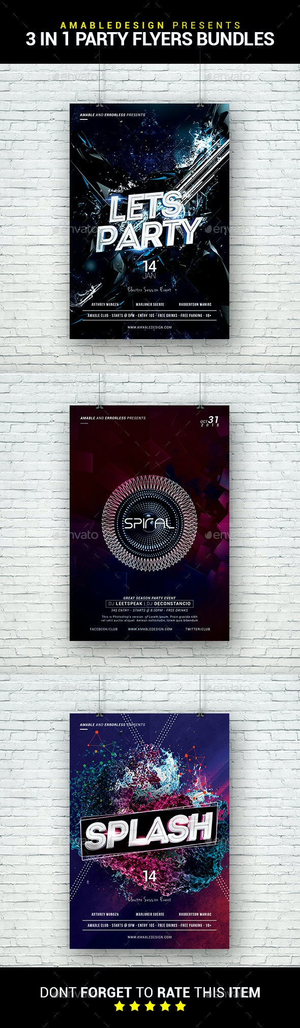 3 in 1 Party Flyer/Poster Bundle - Clubs & Parties Events