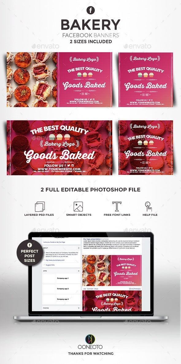 Facebook Banners - Bakery - Banners & Ads Web Elements