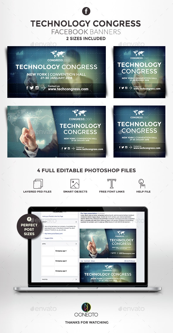 Facebook Banners - Technology Congress - Banners & Ads Web Elements