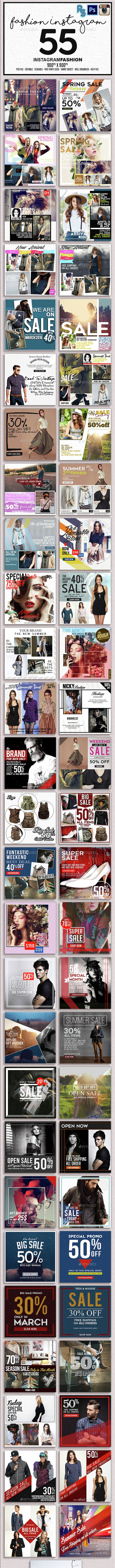 Instagram Fashion Banners - Banners & Ads Web Elements