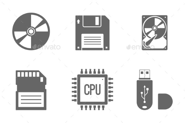 Digital Data Vector Icons Set - Technology Icons
