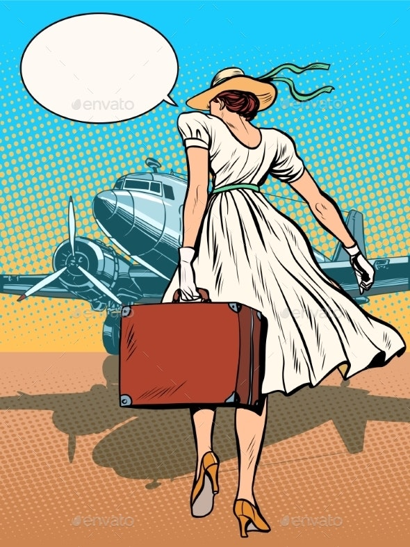 Lady Passenger Aircraft With Luggage - Travel Conceptual
