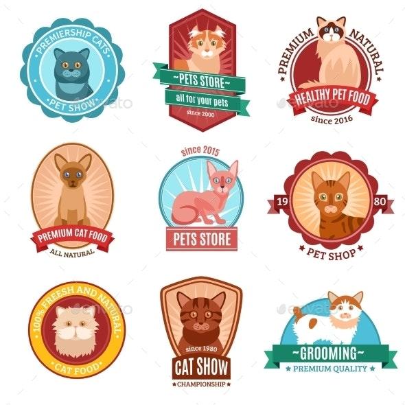 Cats Emblem Set - Animals Characters