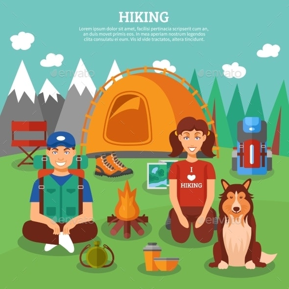 Hiking Flat Concept - Nature Conceptual