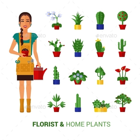 Florist And Home Plants  Flat Icons  - Flowers & Plants Nature