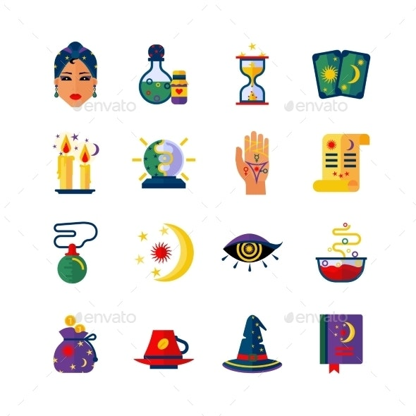 Fortune Teller Attributes Flat Icons Set  - Miscellaneous Icons